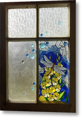 Mosaic Stained Glass - Dragonfly In The Window Metal Print by Catherine Van Der Woerd
