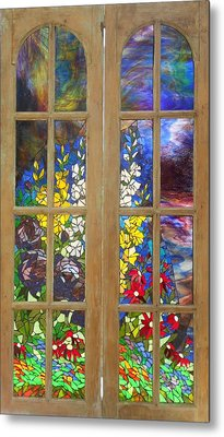 Mosaic Stained Glass - Flower Garden Metal Print by Catherine Van Der Woerd