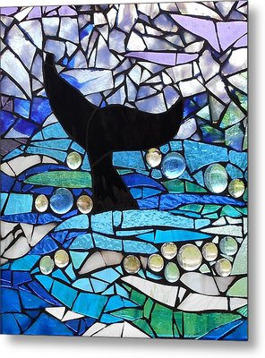 Mosaic Stained Glass - Whale Tail Metal Print by Catherine Van Der Woerd