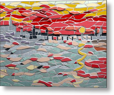 Mosaic View Of Sunset Over The Thames In London Metal Print