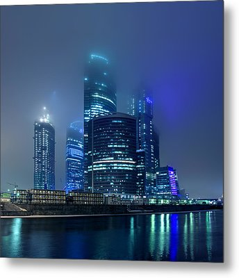 Moscow City In Myst At Night Metal Print