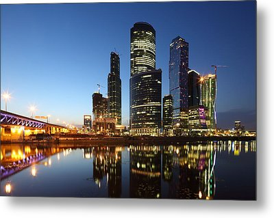 Moscow City Skyline At Night Metal Print