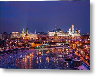 Moscow Kremlin And Big Stone Bridge At Winter Night - Featured 3 Metal Print by Alexander Senin