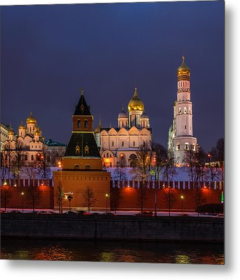 Moscow Kremlin Cathedrals At Night - Square Metal Print by Alexander Senin