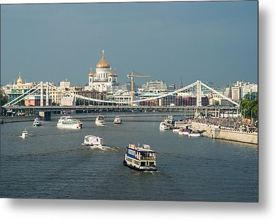Moscow-river Traffic In Summertime - Featured 3 Metal Print by Alexander Senin