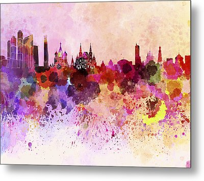 Moscow Skyline In Watercolor Background Metal Print by Pablo Romero