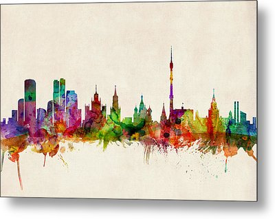 Moscow Skyline Metal Print by Michael Tompsett