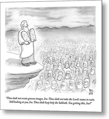 Moses Recites The Ten Commandments To An Audience Metal Print