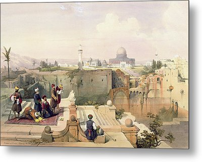 Mosque Of Omar Showing The Site Of The Temple, Plate 8 From Volume I Of The Holy Land  Metal Print by David Roberts