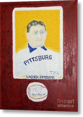 Most Expensive Card T206 Honus Wagner And Signed Baseball Metal Print by Richard W Linford