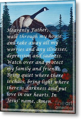 Most Powerful Prayer With Goose Flying And Autumn Scene Metal Print by Barbara Griffin