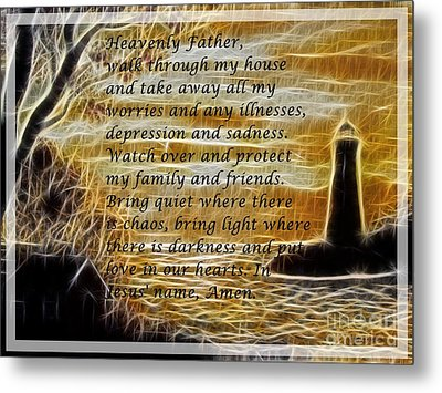 Most Powerful Prayer With Lighthouse Scene Metal Print by Barbara Griffin