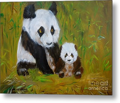 Metal Print featuring the painting Mother And Baby Panda by Jenny Lee