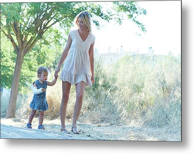 Mother And Daughter On Path Metal Print