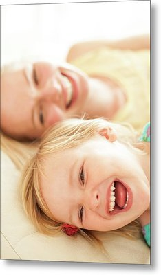 Mother And Her Daughter Laughing Metal Print