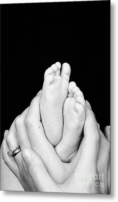 Mother And Son Hands And Feet Metal Print