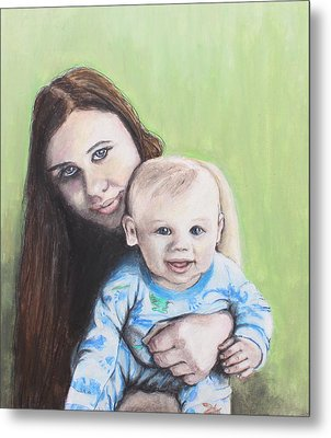 Mother And Son Metal Print by Jeanne Fischer