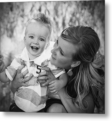 Mother And Son Laughing Together Metal Print by Daniel Sicolo