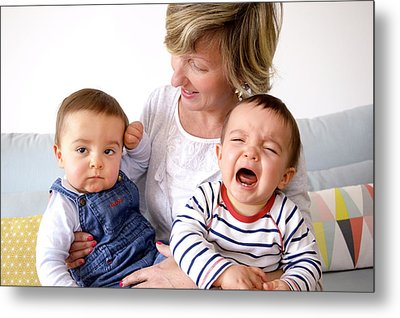 Mother And Twin Baby Sons Metal Print by Aj Photo
