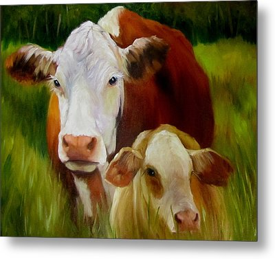 Metal Print featuring the painting Mother Cow And Baby Calf by Cheri Wollenberg