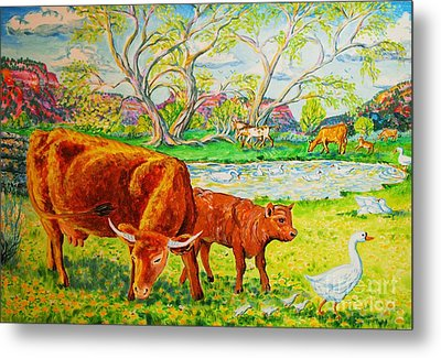 Mother Cow And Bull Calf Metal Print by Annie Gibbons