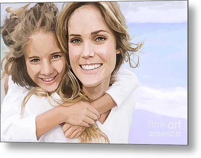 Metal Print featuring the painting Mother Daughter Portrait   by Tim Gilliland