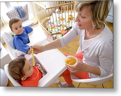 Mother Feeding Twin Baby Sons Metal Print by Aj Photo