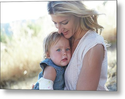Mother Hugging Daughter Metal Print