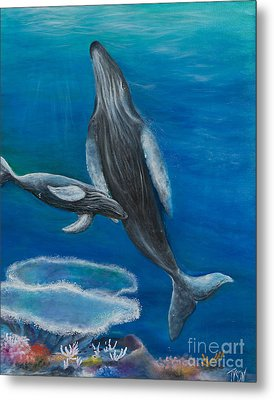 Mother Humpback And Her Calf Metal Print by John Garland  Tyson