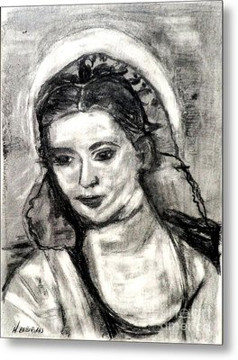 Metal Print featuring the painting Mother Mary-let It Be by Helena Bebirian