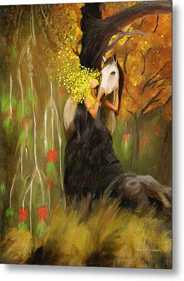 Mother Nature And Her White Horse Metal Print by Angela A Stanton