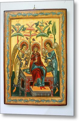 Mother Of God In Heaven With The Archangels Hand Painted Holy Orthodox Wooden Icon Metal Print