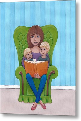 Mother Reading Metal Print