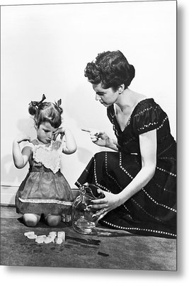 Mother Scolding Tearful Child Metal Print by Underwood Archives