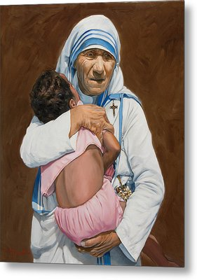 Mother Teresa Holding A Child Metal Print