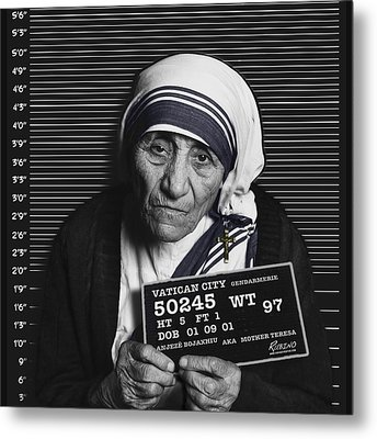 Mother Teresa Mug Shot Metal Print by Tony Rubino