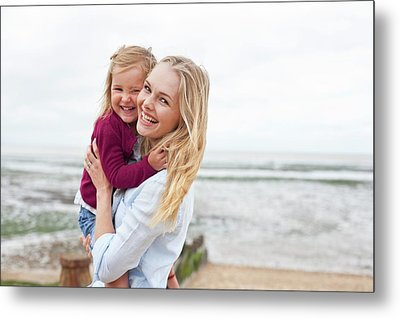 Mother With Daughter On Beach Metal Print