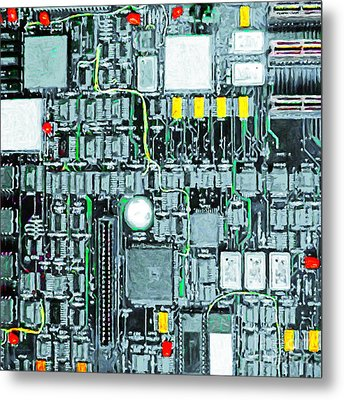 Motherboard Abstract 20130716 Square Metal Print by Wingsdomain Art and Photography