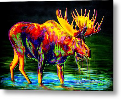 Motley Moose Metal Print by Teshia Art