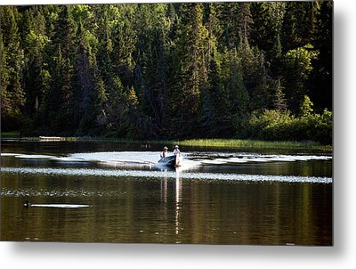 Motor Boat On The Lake Metal Print by Marek Poplawski