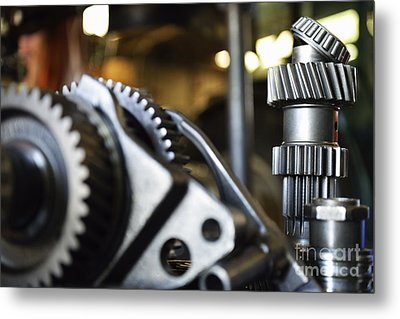 Motor Gears To Be Assembled Metal Print by Sami Sarkis