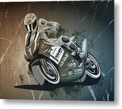 Motorbike Racing Grunge Monochrome Metal Print by Frank Ramspott