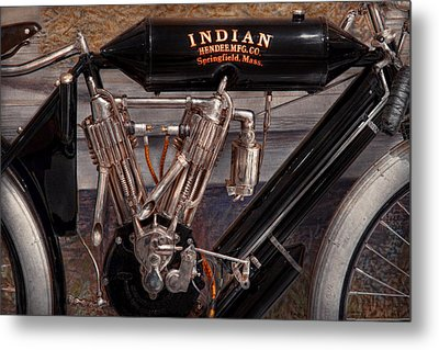 Motorcycle - An Oldie But A Goodie  Metal Print by Mike Savad