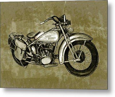 Motorcycle Art Sketch Poster Metal Print