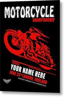 Motorcycle Customized Poster 2 Metal Print by Mark Rogan
