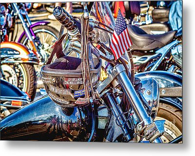 Metal Print featuring the photograph Motorcycle Helmet And Flag by Eleanor Abramson