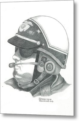 Motorcycle Officer On The Job Metal Print by Sharon Blanchard