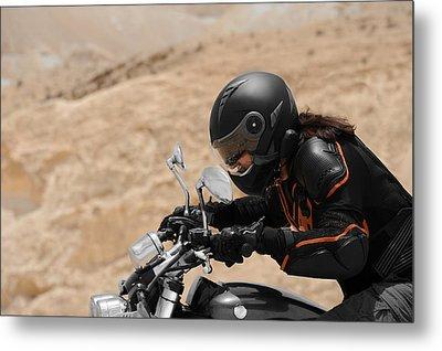 Motorcyclist In A Desert Metal Print