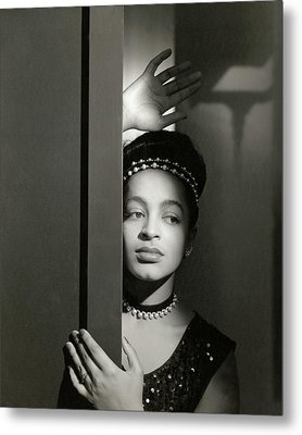 Moune Posing By A Wall Metal Print by Horst P. Horst