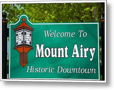 Mount Airy Sign Nc Metal Print by Bob Pardue